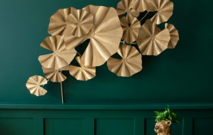 Lily pad leaf wall art, £136, and leopard vase, £55, Audenza, www.audenza.com
