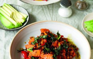 Harissa sweet potato and lentil stew, balsamic dressing and avocado