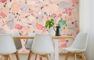 Pastel pink and blue Terrazzo wallpaper, £30 per square metre, www.wallsauce.com