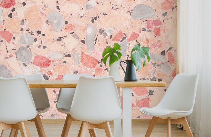 Pastel pink and blue Terrazzo wallpaper, £30 per square metre, www.wallsauce.com
