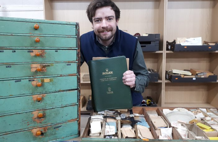 Watch enthusiast Ben Winterton with some of the collection.