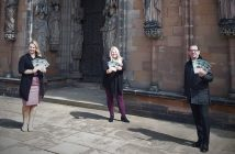 Kate Kinson, Group Marketing Manager for Webb Hotel Group, Emily Waldron of Visit Lichfield and Canon Gregory Platten of Lichfield Cathedral.