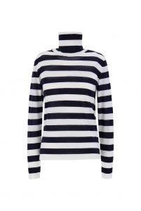 Striped pure virgin wool jumper, £280, Max Mara at Harvey Nichols.