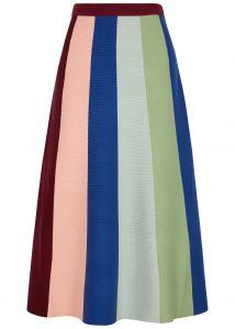 Striped stretch midi skirt, £235, Victoria, Victoria Beckham at Harvey Nichols.