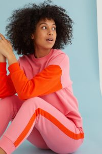 Pink and red swat top, £39.50, and joggers, £45, Oliver Bonas.