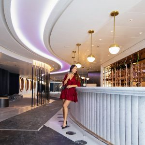 Onboard a Virgin Voyages ship.