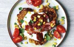 Herby corn fritters.