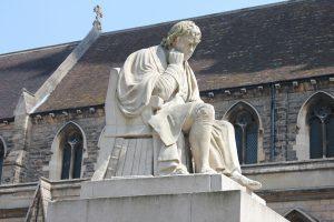 The Johnson statue in Lichfield's market square.