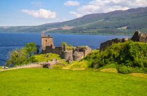 Urquhart Castle on the shores of Loch Ness.