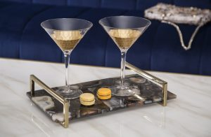 Ebony stone tray with gold handles, £224, VB Luxury Interiors, www.vbluxuryinteriors.com