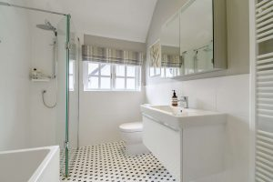 A luxuriously appointed bathroom.